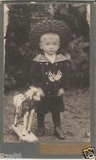 Kind mit Spielzeug-Pferd, Schaukelpferd, altes Papp-Foto um 1900, Rodewisch, CDV