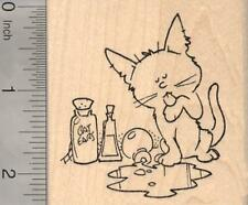 Halloween Cat lapping up Witches Brew Rubber Stamp J18901 WM