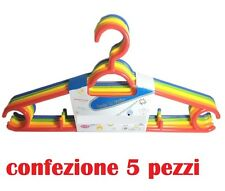 Set 5 Grucce Stampelle Appendiabito Plastica Color Vestiti Pantaloni Giacche moc