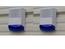 Dummy Burglar Alarm Boxes x 2 - Flashing Light - Solar dummy alarm Siren - Blue