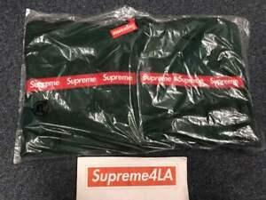 Supreme 19FW Text Stripe Zip Up Hooded Sweatshirt DK Green XL 1000% Authentic