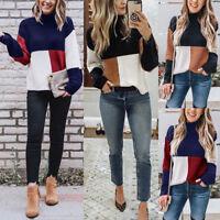 Ladies High Neck Patchwork Sweater Tops & Women Autumn Pullover Stitching Jumper