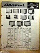 Vintage 1974 Original ADMIRAL COLOR TELEVISION TV M10 Chassis SERVICE MANUAL