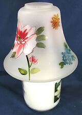 Floral Delight Hand Painted Glass Candle Jar Shade Holder Home Decor