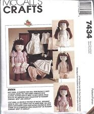 """7434 UNCUT Vintage McCalls Sewing Pattern 18"""" Doll + Clothes + Transfer OOP Emma"""