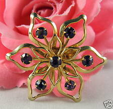 Vintage Purple  Rhinestone Flower Pin CAT RESCUE