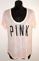 NWT VICTORIA'S SECRET PINK Graphic Slinky T-SHIRT Coral/Peach Top Tie Dye Tee S