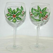 """2 Hand Painted Wine Balloon Glasses Poinsettia Green Holly Ivy Red Berries 8.5""""T"""