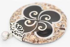 Genuine Bali Medium Round Shell Pendant w a Handmade Sterling Silver Setting.