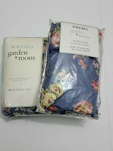 2001 Waverly Garden Room Masterpiece Blue Floral Twin Sheet Set and pillow sham