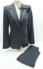 Escada Black on Black Print Bow Blazer and Pant Tuxedo Suit Set Sz 36  US 4