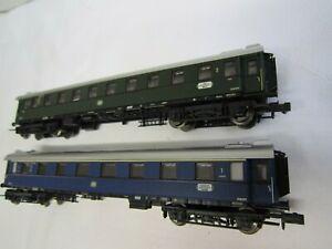 Minitrix Spur N 2 Personenwagen 1. Kl. blau + 2. Kl. grün gebraucht  ohne OVP