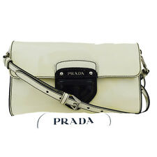Authentic PRADA Logos Shoulder Bag Patent Leather Black White Italy 02Z525