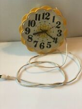 Beautiful Vintage General Electric GE Yellow Daisy Shape Kitchen Wall Clock
