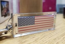 Personalized USA Flag Name Lights Up Solar Powered Custom Name Key Chain