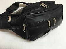 MENS LADIES LEATHER EXTRA LARGE FANNY PACK/WAISTBAG BLACK LAST FEW