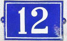 Large old blue French house number 12 door gate plate plaque enamel sign c1950