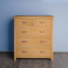 London Oak Large Chest of Drawers / Light Oak Chest / Solid Wood / 5 Drawers UK