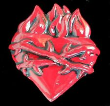 FLAMING HEART BELT BUCKLE WITH BARBED WIRE NEW US MADE