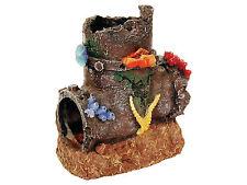 Sunken Pipe With Coral Decoration Fish Tank Cave Aquarium Ornament