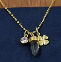 Solid 925 Sterling Silver Jewelry Chalcedony CZ Gemstone Gold Plated Necklace
