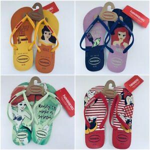 Disney Havaianas Flip Flop Ariel Belle Minnie Mouse Women's Shoes Little Mermaid
