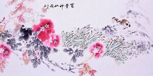 100% HANDPAINTED ORIENTAL ASIAN ART CHINESE FLORAL PAINTING-Birds lover&Peony