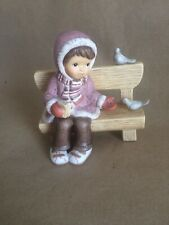 Goebel Limpke Nina Marco Girl On Bench With Birds Christmas In The Park Figurine