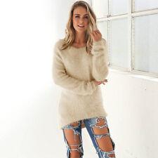 Damen Velvet Pullover Sweatershirt Langpulli Tunika Jumper Top Strickjacke Bluse
