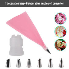 8PCS/Set Silicone Icing Piping Cream Pastry Bag+6 Stainless Steel Nozzles Tips