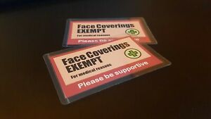 Face Coverings Exempt cards