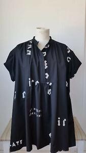 Trendy Wendy blusa smanicata con lettering taglia unica tunica nera donna