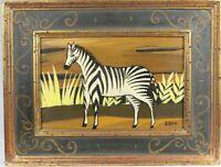 Vintage Original Naive Folk Art ZEBRA Animal Painting on Board Signed EDEN