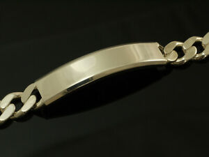 925 Silber Panzer Gravur Armband massives Silber Länge 21 cm Breite 8 mm
