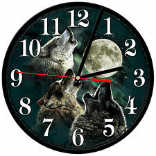 "8"" WALL CLOCK - Wolf 26 Wolves Spiritual - Kitchen Office Bathroom Bar Bedroom"