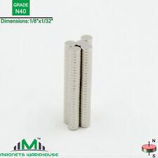 """150-count neodymium N40 Disc rare earth NdFeb magnets 1/8x1/32"""" (true N40)"""