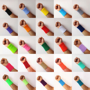 Unisex Cotton Wrist Wristband Sports Towel Sweatband Solid Color Sweat Band Yoga