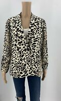 Chico's Womens Animal Print Blazer Jacket Size 1 M Brown Ivory Button Front J1