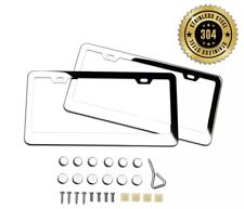 2pcs Chrome 304 Stainless Steel Metal License Plate Frame Tag Cover Screw Caps