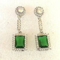 Green Emerald White Gold Bonded CRUISE Designer Earrings, Optional Pouch or Box