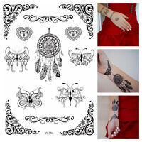 Temporary Tattoos schwarz Dreamcatcher Tribals Schmetterlinge Flash Tattoo W-353