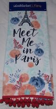 Shabby Chic Floral Kitchen TeaTowel French Country Meet Me in Paris Eiffel Tower
