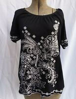 Karen Scott Embroidered Sequin Black Tunic Knit Top Scalloped