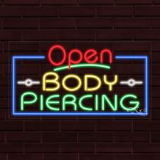 "Brand New ""Open Body Piercing"" w/Border 37x20X1 Inch Led Flex Indoor Sign 35558"