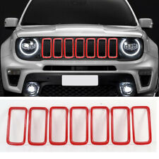 For 2019 2020 Jeep Renegade Red Front Grille Inserts Mesh Trim Frame Accessories