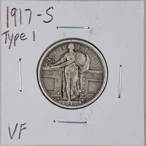 1917-S Type 1 25C Standing Liberty Quarter Dollar in VF Condition #06267