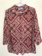 💜 BLUE ILLUSION Red White Blue Geometric Floral Paisley Shirt Blouse Top M 12