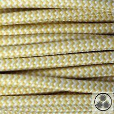 Textilkabel Stoffkabel Lampen-Kabel Stromkabel Elektrokabe Gelb Zick Zack 3adrig