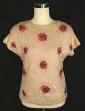Vintage House of Gold Pink Daisy Floral Beaded Blouse Short Sleeve Top - Med