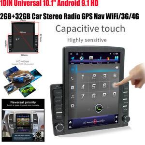 "1DIN 10.1"" 2+32GB Android 9.1 HD Car Stereo Radio GPS Navi MP5 Player Universal"